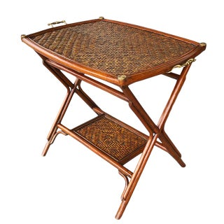 1970s Chinoiserie Bamboo Cane Occasional Tray Table With Bottom Shelf and Brass Details For Sale