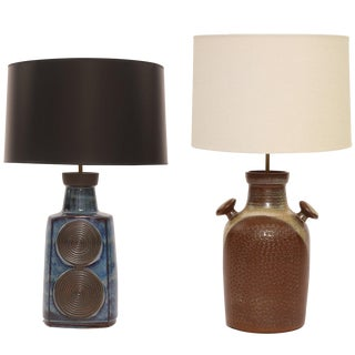 1960s VintageCeramic Table Lamps by Soholm- a Pair For Sale