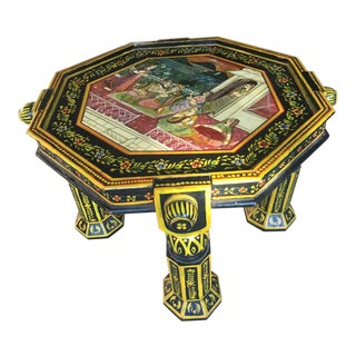 1970s Indian Hand-Painted Side Table For Sale