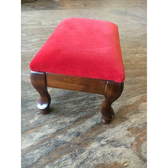 Vintage Red Upholstered Foot Stool - Image 5 of 8