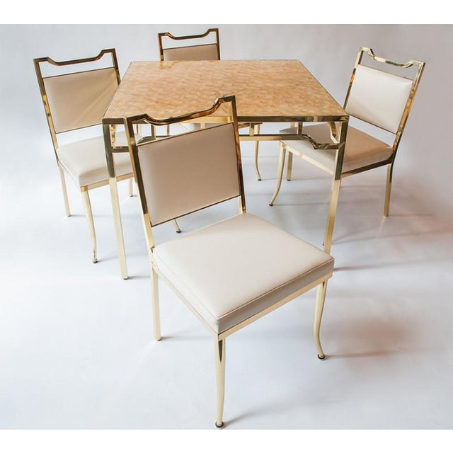 """White 1950s USA William """"Billy"""" Haines Capiz Shell Game Table and Chairs For Sale - Image 8 of 11"""
