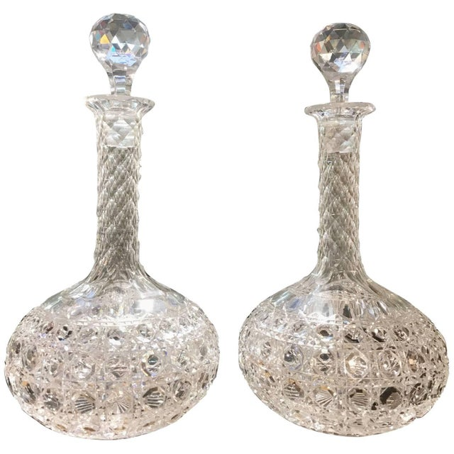 Late 19th Century Antique Hand-Cut Glass Wine Claret Decanters - A Pair For Sale - Image 9 of 9