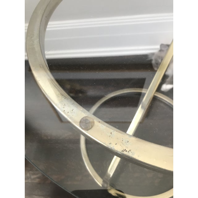 Mid-Century Modern 1970s Mid Century Modern Glass and Gold Side Table For Sale - Image 3 of 8