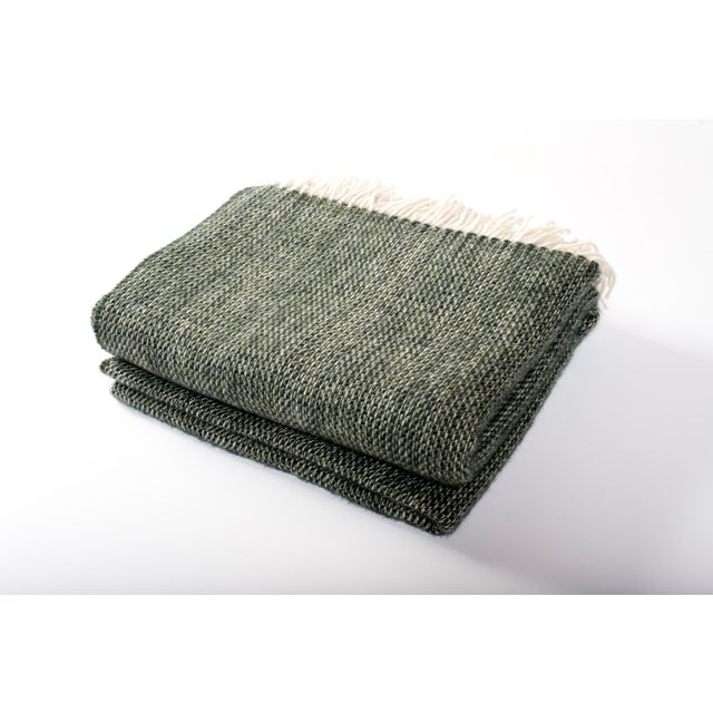 Contemporary Chalet Throw Moss Wool Blanket For Sale - Image 4 of 4