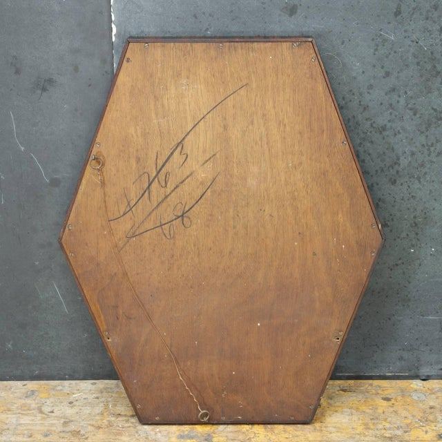 European Art Deco Wall Mirror of Optically Illusory Hexagonal Form For Sale - Image 4 of 6