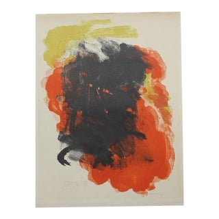 Abraham Rattner Abstract Painting Orange and Black For Sale
