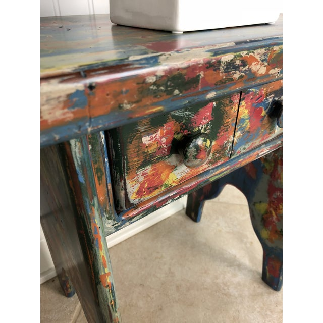 Industrial Bohemian Accent Table For Sale - Image 4 of 9