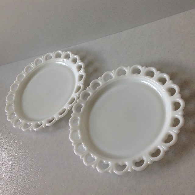 Lace Edge Milk Glass Cake Plates - Pair For Sale - Image 9 of 9