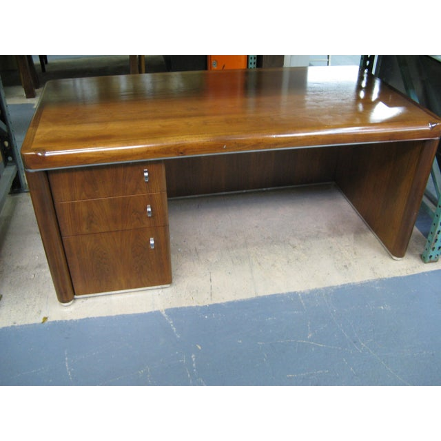 Art Deco Walnut Desk For Sale In Los Angeles - Image 6 of 9