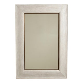 Studio a Transitional White Toile Linen Floor Mirror/ Full Length Mirror For Sale
