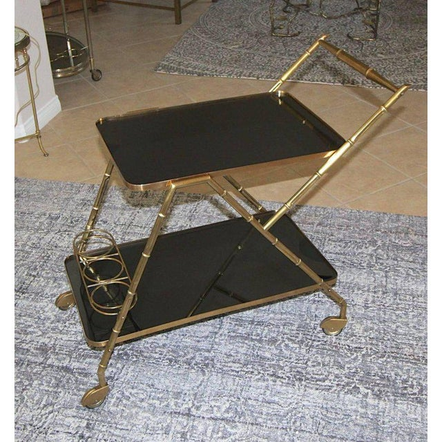 Italian Brass Faux Bamboo Bar Tea Cart For Sale - Image 10 of 13