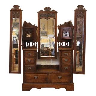 19th Century Antique English Carved Walnut Triple Mirror Dresser For Sale