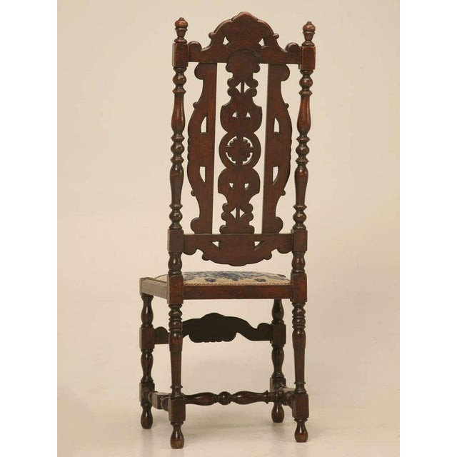 French Antique French Hand Carved Needlepoint Seat Side Chair For Sale - Image 3 of 10