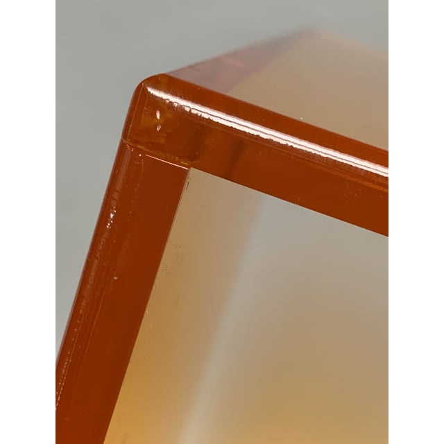 Acrylic 1990s Modern Translucent Orange Lucite Rolling Storage Cube/Side Table on Wheels For Sale - Image 7 of 11