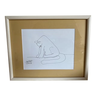 """Vintage Drawing """"My Cat Stretching in the Morning"""" With Coa by Listed Artist John Elliot, Opa For Sale"""