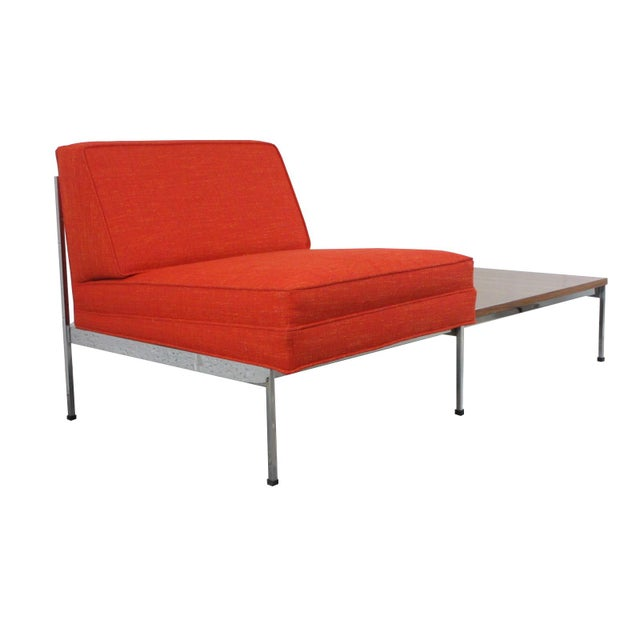 DESCRIPTION: Mid-Century Modern Robert John Company, 50's-Era, 2-piece chrome sectional with Attached Side Table....