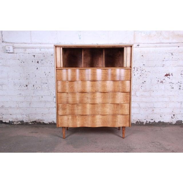 Birch Edmond Spence Wave Front Highboy Dresser For Sale - Image 7 of 13