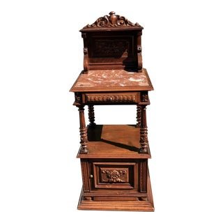 Antique Old Paris Apartment Carved Renaissance Style Night Stand or End Table For Sale