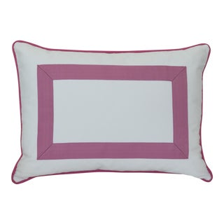 Designer White & Pink Grosgrain Ribbon Pillow