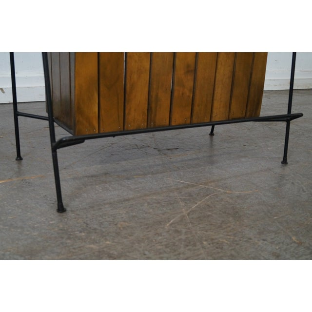 Arthur Umanoff Iron Frame Wood Slat Bar For Sale - Image 9 of 10