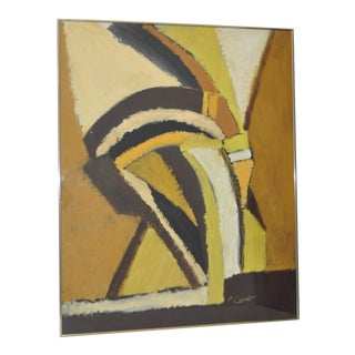 Phyllis Ciment Vintage Yellow & Brown Abstract Painting C.1970 For Sale
