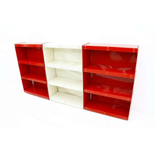 Metal Softline Wall System, Shelf, Bookshelf by Otto Zapf, Germany 1971, Red / White For Sale - Image 7 of 10