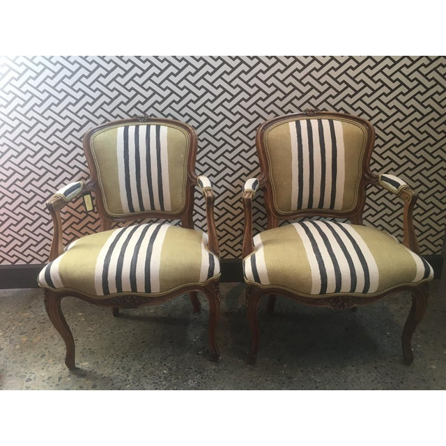 Pair of vintage Fateuil chairs reupholstered in Dedar - Rataplan 002 fabric.