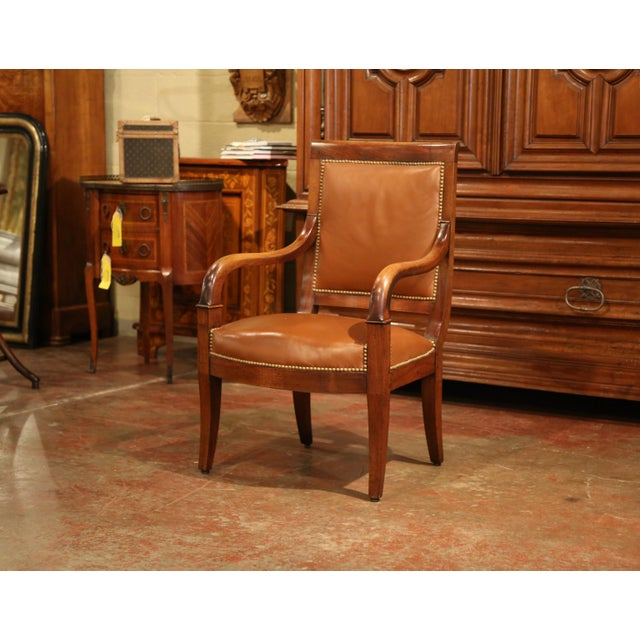 19th Century French Directoire Carved Walnut Desk Armchair With Brown Leather For Sale - Image 4 of 9