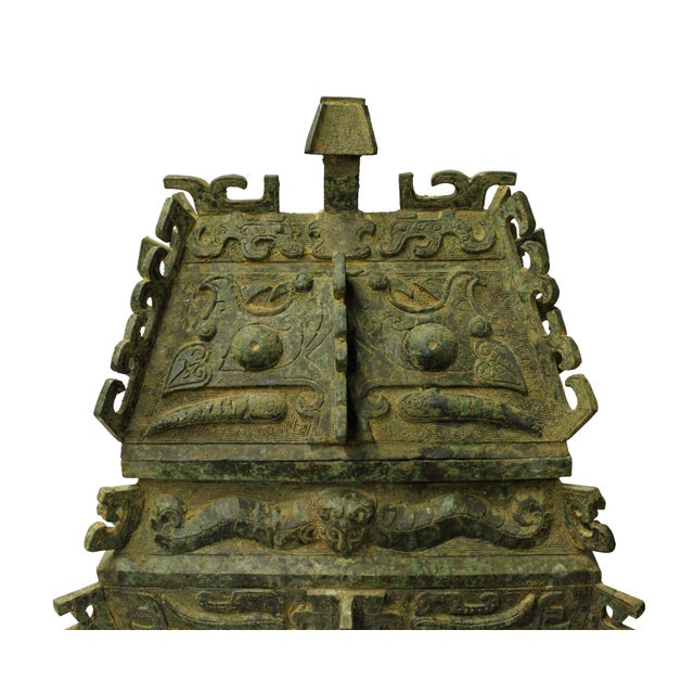 Chinese Ancient Dynasty Green Bronze Ceremonial Incense Burner Display Art - Image 3 of 9
