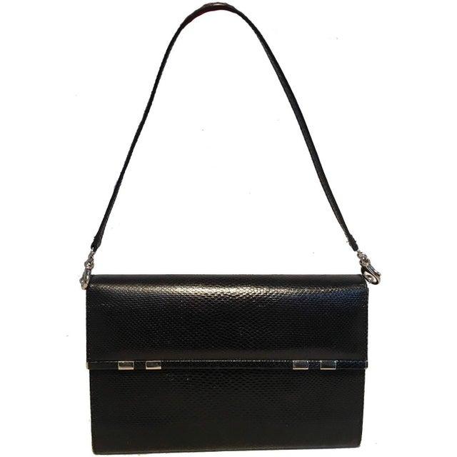 Judith Leiber Black Lizard Wallet Wristlet Clutch For Sale - Image 10 of 10