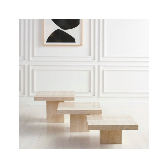 Ivory Trio of Polished Travertine Cocktail Tables For Sale - Image 8 of 8