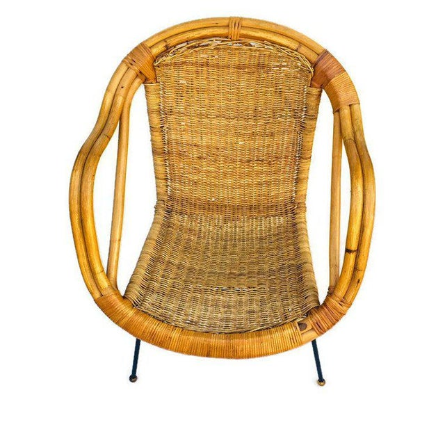 Mid Century Rattan & Sculpted Bamboo Hoop Chair Cast Iron Legs For Sale - Image 9 of 11