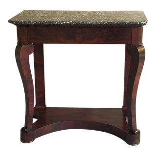 Console, 19th Century French Louis Philippe Period in Mahogany With Marble Top For Sale