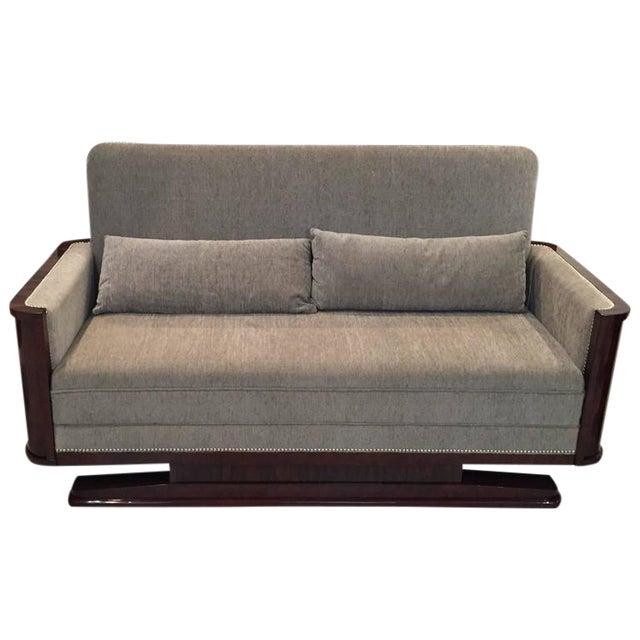 Circa 1930 French Art Deco Macassar Sofa For Sale