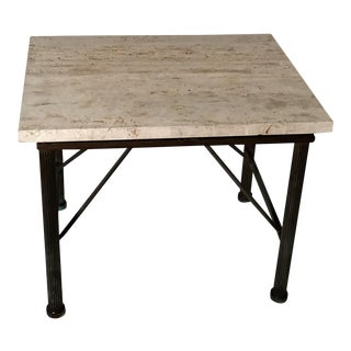 Travertine Indoor/Outdoor Side Table For Sale