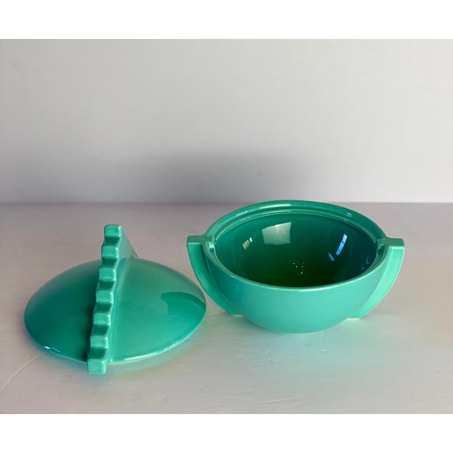 1980s 1980s Memphis Salins France Aqua Sugar Bowl With Lid For Sale - Image 5 of 9