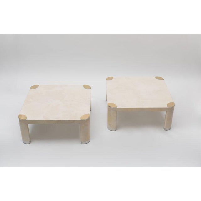 Pair of 1980s Karl Springer Goatskin Occasional Tables For Sale - Image 10 of 11