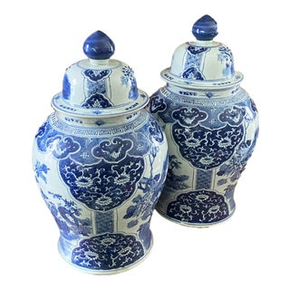 Lg Chinoiserie B & W Ginger Jars For Sale