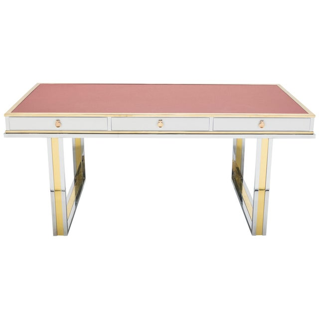 Unique French Desk White Lacquer Brass Red Leather by Atelier La Boetie, 1974 For Sale - Image 13 of 13