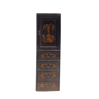 Chinese Vintage Golden Graphic Dresser Cabinet For Sale
