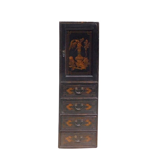 Chinese Vintage Golden Graphic Dresser Cabinet For Sale