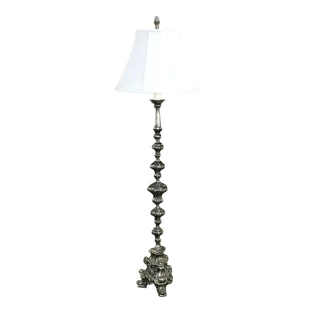 Antique Italian Baroque Silver Plated Brass Floor Lamp For Sale