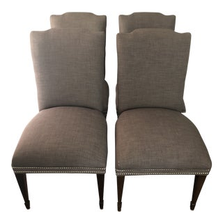 Sam Moore Gray Upholstered Dining Side Chairs With Nailhead - a Pair For Sale