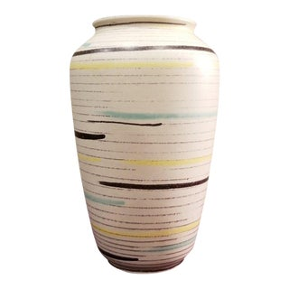Vintage West Germany Horizontal Painted Lines Pottery Vase For Sale