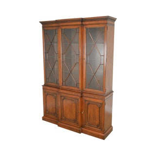 Kindel Chippendale Style Mahogany Breakfront Bookcase China Cabinet For Sale