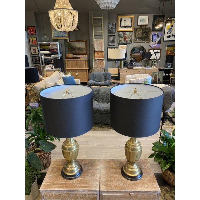 Mid-Century Modern Mid-Century Modern Brass Lamps by Marbro Brass Lamps - Pair For Sale - Image 3 of 10