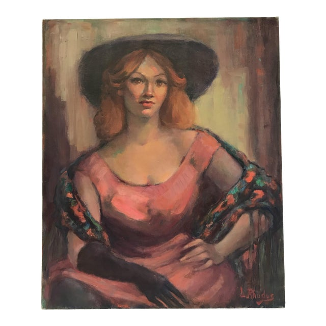 Lady in Pink Oil Painting by Lillian Rhodus For Sale