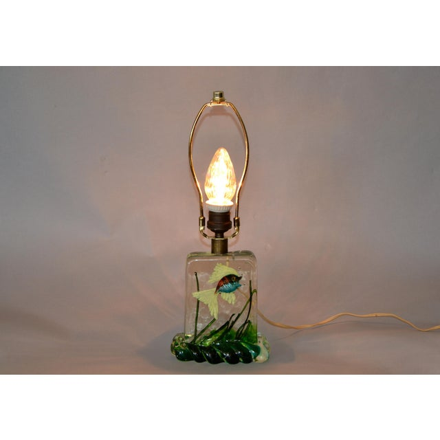 Italian Gino Cenedese Murano Glass Table Lamp & Shade With Fish and Seaweed, Italy 1950 For Sale - Image 3 of 13