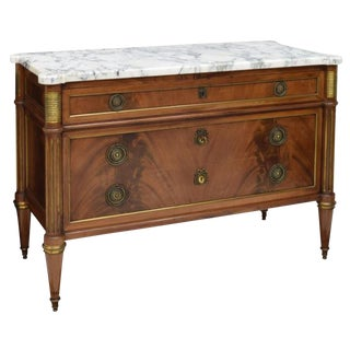 French Louis XV Style Marble Top Chest Commode