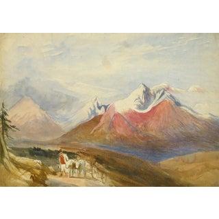 Vintage English Watercolor Landscape - Winter Peaks For Sale
